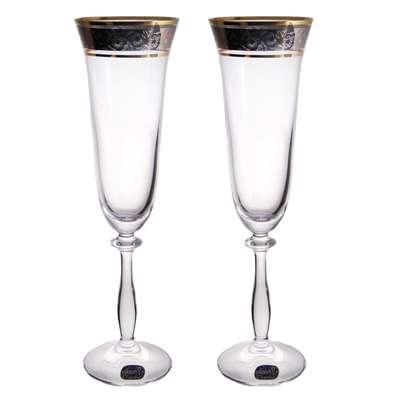 Бокалы для шампанского Bohemia Angela Gold 190 мл. (40600/43249/190/2)