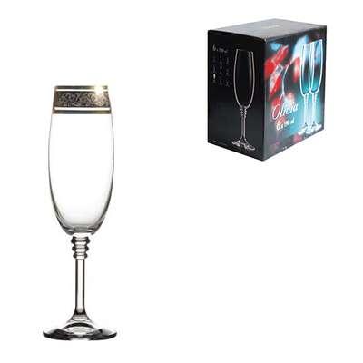 Бокалы для шампанского Bohemia Olivia Gold 190 мл. (40346/43249/190)