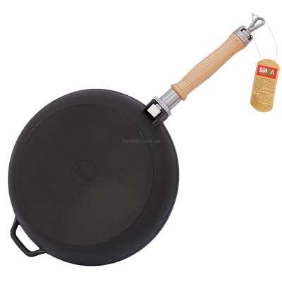 Сковорода чугунная со съемной ручкой без крышки Биол 22 см. (122) 61834