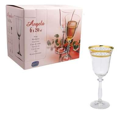 Бокалы для вина Bohemia Angela Gold 250 мл. золото (40600-43081-250)