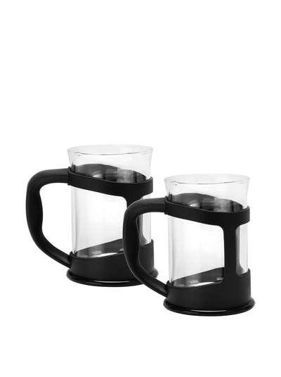 Чашка для кофе/чая стеклянная в черной подставке Berghoff 2 шт. (1106831)